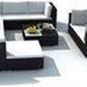 10-delige Loungeset tuinset met kussens poly rattan zwart