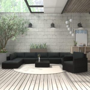 11-delige Loungeset met kussens poly rattan zwart