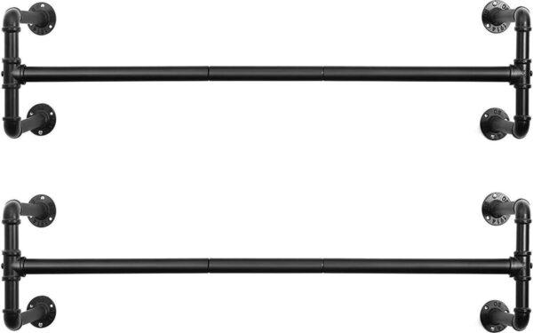 2 Kleding Stangen, Set van 2 Ophang Rails, Kledingrek in Industriële Stijl voor Wandmontage, Hangende Buizen, Waterleiding Design, 110cm Lang, Zwart