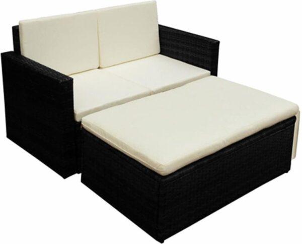 2-delige Loungeset met kussens poly rattan zwart