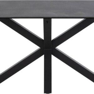 24Designs Eettafel Hero - L200 X B100 X H75.5 Cm - Zwart Glas/Keramiek - Mat Zwart Onderstel