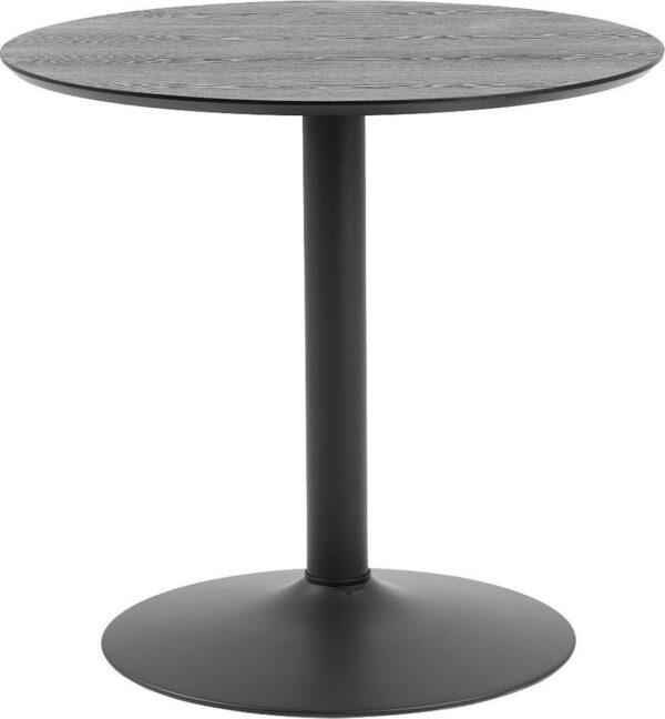 24Designs Ronde Eettafel Esma 80 Cm - 2 Personen - Hoogte 75 Cm - Zwart Houten Tafelblad - Zwarte Trompetvoet