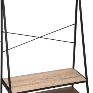 5Five Kapstok met schoenrek - Metaal en Hout - voor inkomhal - Zwart - L80 x 38.3 x H160cm - Kledingrek