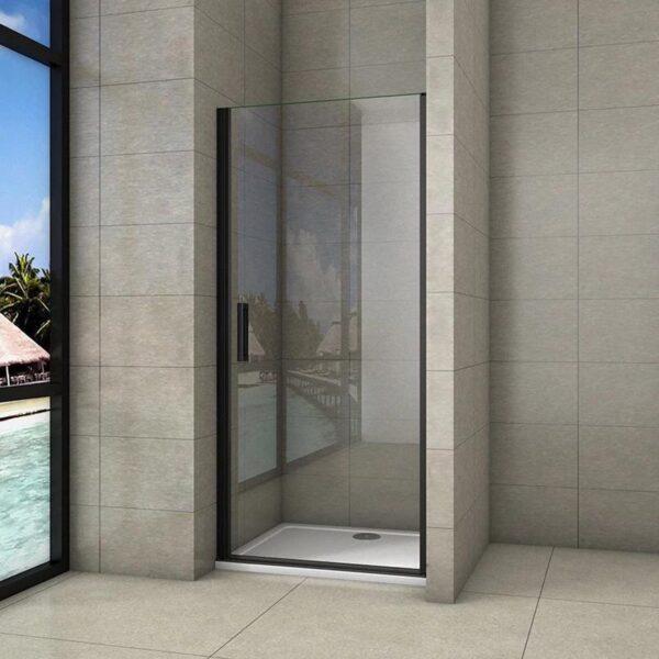 8mm NANO glazen douchecabine douchescherm draaideur douche douchewand roterende deur zwart 80x200cm