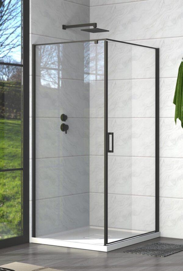 Badplaats - Douchecabine Alava 6mm - zwart - 900 x 900 x 1850mm - nano coating - met profielen en strips