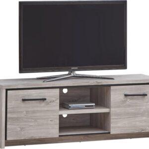 Belfurn - Elias Tv-meubel in grijze eik met zwarte sierstrip