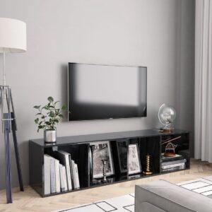 Boekenkast/tv-meubel 143x30x36 cm hoogglans zwart