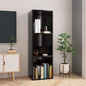 Boekenkast/tv-meubel 36x30x114 cm spaanplaat hoogglans zwart