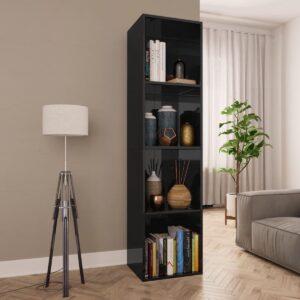 Boekenkast/tv-meubel 36x30x143 cm spaanplaat hoogglans zwart