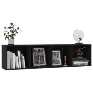 Boekenkast/tv-meubel met 4 vakken - Spaanplaat - Zwart - 143x30x36 cm (BxDxH)