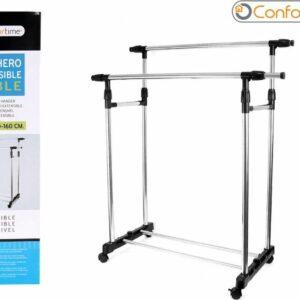Confortime - Kledingrek - Met 2 stangen die afzonderlijk in hoogte te verstellen zijn - Zwart - 85 x 42 x 90 tot 160 CM