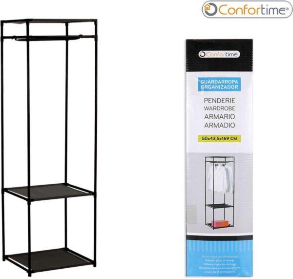 Confortime Metalen Kledingrek - Kledingstandaard - 50 x 43,5 x 169 cm - Zwart