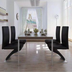 Design Eettafelstoelen (INCL anti kras viltjes) 4 STUKS Zwart / Eetkamerstoelen / Eetkamer Stoelen / Eettafel stoelen
