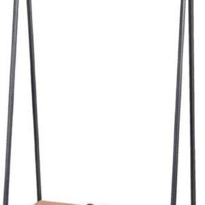 Driehoek Kledingrek met Rustiek Houten Plank - Zwart (B105cm)