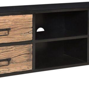 Duverger Railway - TV-meubel - 180 - naturel - ruw drijfhout - smeedijzer frame - zwart