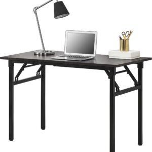 Eettafel bureau 120x60x75 - 76,4 cm opvouwbaar verstelbaar donkerbruin en zwart