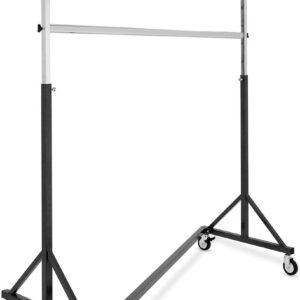 Extra stevig kledingrek met wielen - verstelbare hoogte max. 200 cm - 140 cm lang - zwart/ chroom
