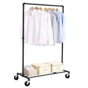 Garderoberek op wieltjes - Mobiel kledingrek met Legruimte - Draagcapaciteit 90 kg - Zwart