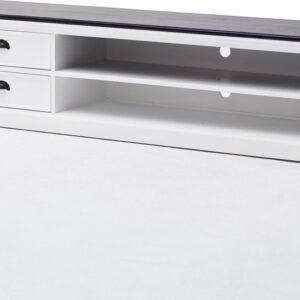 HalifaxContrast tv-meubel met 2 lades en 1 plank, in wit met zwarte bovenkant.