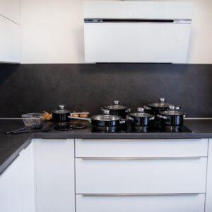 Herenthal - 15-delige RVS Pannenset met kook accessoires- Zwart