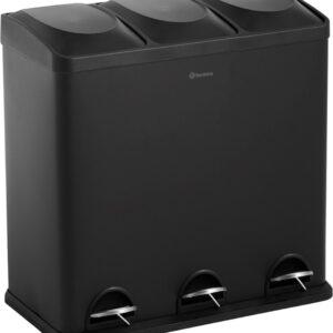 Homra MAXER afvalscheiding prullenbak met 3 vakken - 3 x 20 L inhoud - Trio pedaalemmer in mat ZWART RVS - Afvalemmer 60 Liter