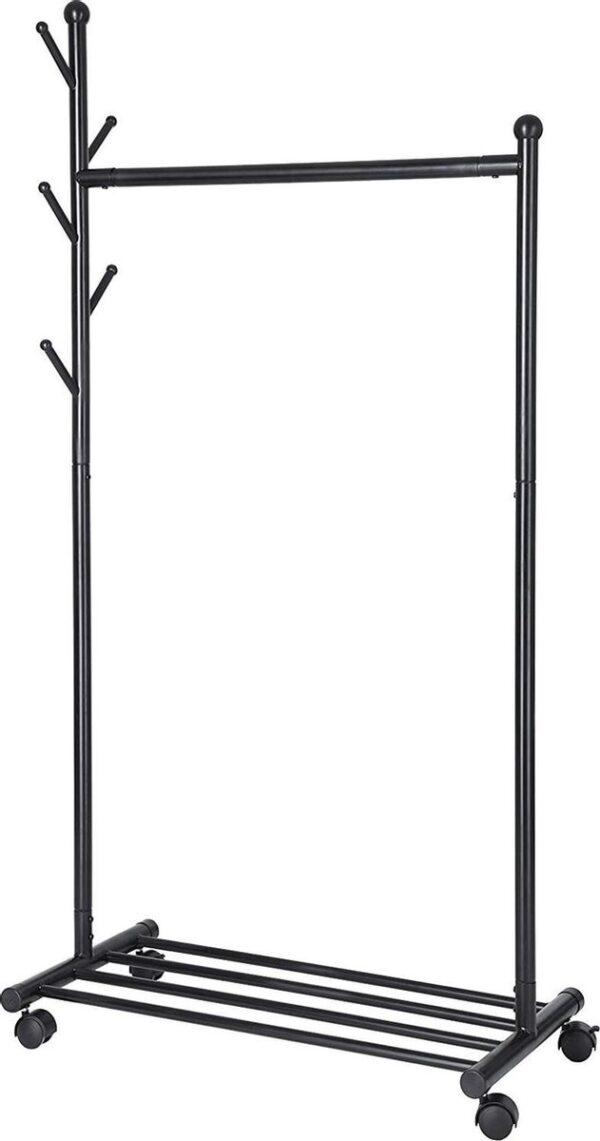 Hoppa! Kledingrek Met Wielen En Schoenenrek - Kapstok - Zwart - 85,2 x 174 x 42,5 cm