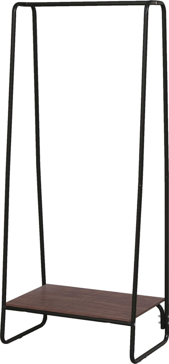 IRIS Kledingrek met legplank - PI-B1 -Metaal/Hout - Zwart