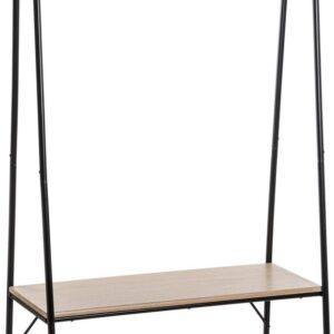 Kledingrek - Metaal - Garderobe rek - Planken en Kledingstang - Zwart - 95,5x46,5x165cm