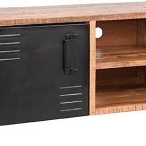 LABEL51 - Tv-meubel Brussels - Zwart Metaal - Mangohout - 115x45x50 cm
