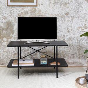 LIFA LIVING Bijzettafel - Salontafel - Koffietafel - TV Meubel - Industrieel - Zwart - Metaal & Hout - - - 87 x 50 x 46 cm