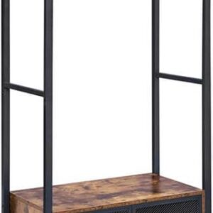 MIRA Home - Kledingkast slaapkamer - Kledingrek staand - Industrieel - Hout - Bruin/Zwart - 80x40x180