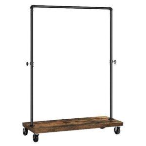 MIRA Home - Kledingrek op wieltjes - Kledingrek metaal - Hout - Zwart/Bruin - 103.5x40x162