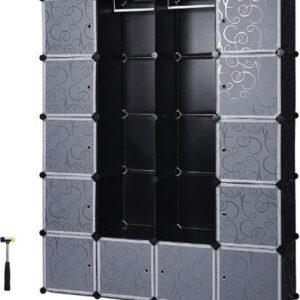 MIRA Home - Opbergrek - Kledingrek zwart - Modern - Kledingkasten - Zwart - 36x143x178