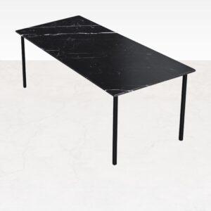 Marmeren Eettafel - Nero Marquina Zwart (4-poot) - 160 x 90