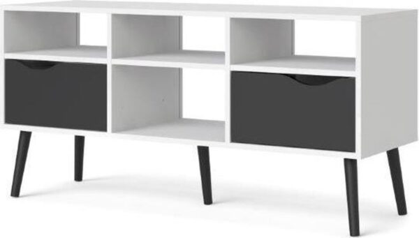 Napoli TV-meubel met 2 lades en 4 open vakken zwart/wit.