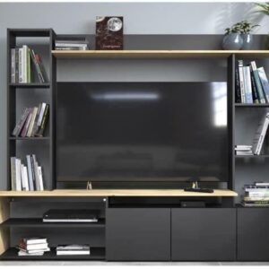 OREGON Tv-meubel met 3 lage deuren - Eiken en zwart decor - L 196,6 x D 39,5 x H 153,3 cm