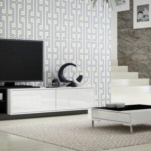 SIGMA 2 TV meubel - TV stand - Kast - Wit / Zwart - 43 x 180 x 46 cm