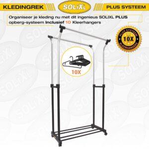 SOLIXL Kledingrek Plus Systeem - INCLUSIEF 10X Kleerhangers - Zwart