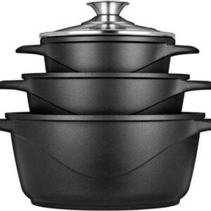 Smile Pannenset   8-delige   MGK-18   Zwart   Vaatwasser bestendig   gietaluminium
