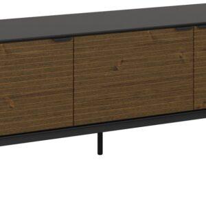 Soma TV-meubel met 3 deuren, zwart, bruin.