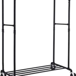 Songmics Metalen kledingrek op wieltjes, tot 110 kg belastbaar, in industrieel design, mobiele garderobestandaard met 2 kledingstangen, voor productpresentatie, zwart