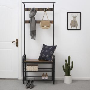 Staande Design Kledingrek met Schoenrek en Zitbank met 9 Kleding Haken - Bruin / Zwart