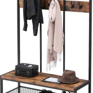 Staande XL Design Kledingrek met Schoenrek en Zitbank in Hout en Metaal - Zwart / Vintage Bruin