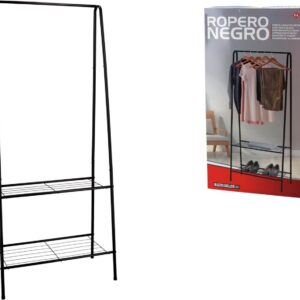 Stijlvol Industrieel kledingrek met 2 leggedeeltes - Industriële kapstok - 59x32x152cm - Zwart - Design - Opbergen - Garderobe - Schoenenrek