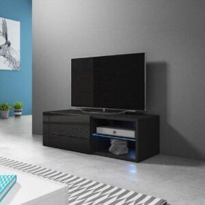TV Kast Meubel 100 cm Zwart - Inclusief Led - Modern Design