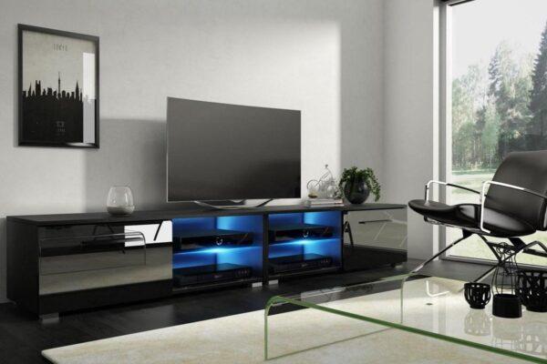 TV Kast Meubel Hoogglans Zwart 200 cm - Modern Design - Inclusief Led
