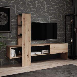 TV-Meubel Oxford - Eiken - Zwart - 185,5 cm