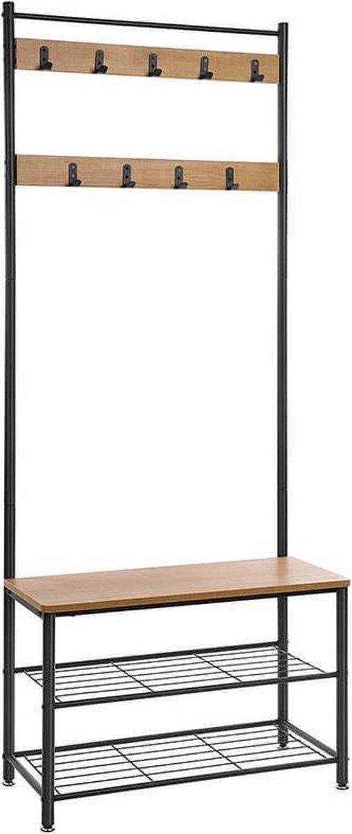 Trend24 - Kapstok - Kapstok staand - Garderoberek - Garderobestang - Kledingrek - 70 x 32 x 175 cm - - Lichtbruin - Zwart