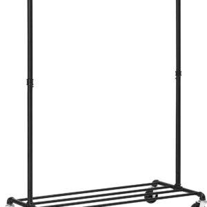 Trend24 - Kledingrek - Garderoberek - Kapstok - Kledingrek op wieltjes - Kledingrekken - Staal - 100 x 49 x 163 cm - Zwart