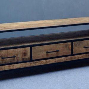 Tv meubel mangohout zwart staal 150 cm